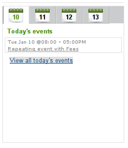 Tabbed Latest Events